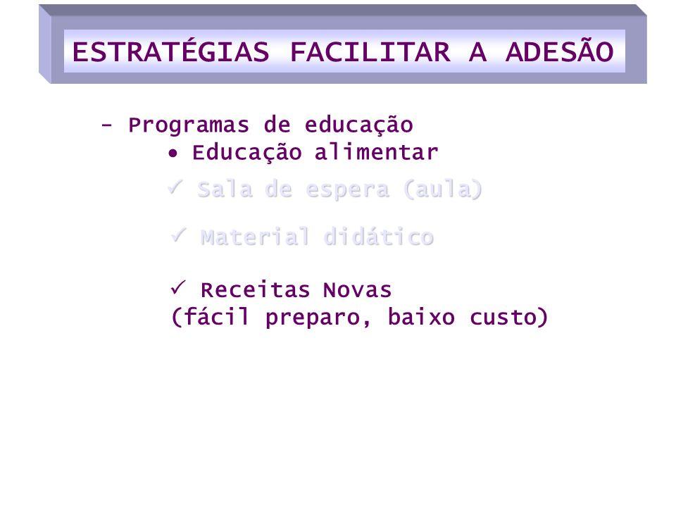 Receitas Novas (fácil preparo, baixo custo) Sala de espera (aula) Sala de espera (aula) - Programas de educação Educação alimentar Material didático M