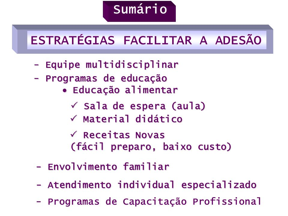 - Equipe multidisciplinar Sala de espera (aula) Sala de espera (aula) - Envolvimento familiar - Atendimento individual especializado - Programas de Ca