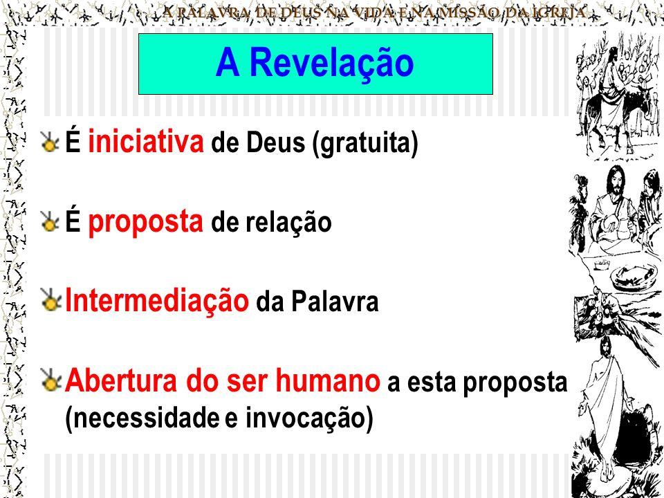 A PALAVRA DE DEUS NA VIDA E NA MISSÃO DA IGREJA A Revelação É iniciativa de Deus (gratuita) É proposta de relação Intermediação da Palavra Abertura do ser humano a esta proposta (necessidade e invocação)