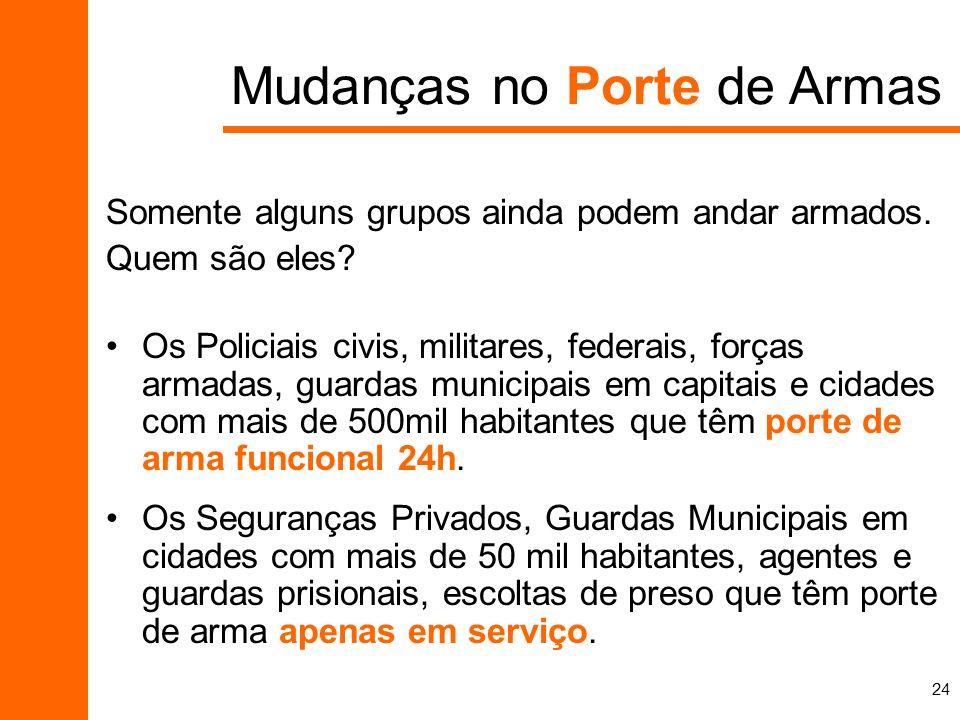24 Mudanças no Porte de Armas Somente alguns grupos ainda podem andar armados. Quem são eles? Os Policiais civis, militares, federais, forças armadas,