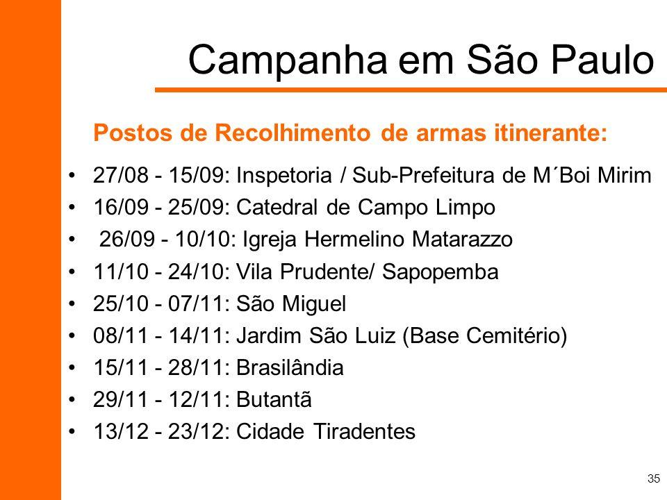 35 Postos de Recolhimento de armas itinerante: 27/08 - 15/09: Inspetoria / Sub-Prefeitura de M´Boi Mirim 16/09 - 25/09: Catedral de Campo Limpo 26/09