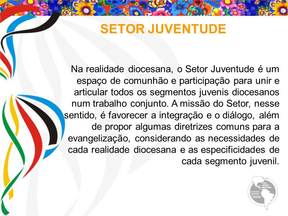 SETOR JUVENTUDE Na realidade diocesana, o Setor Juventude é um espaço de comunhão e participação para unir e articular todos os segmentos juvenis dioc