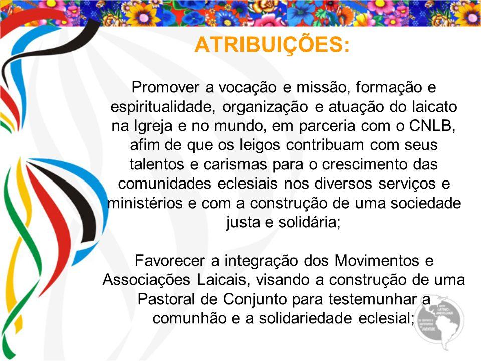 ATRIBUIÇÕES: Promover a vocação e missão, formação e espiritualidade, organização e atuação do laicato na Igreja e no mundo, em parceria com o CNLB, a