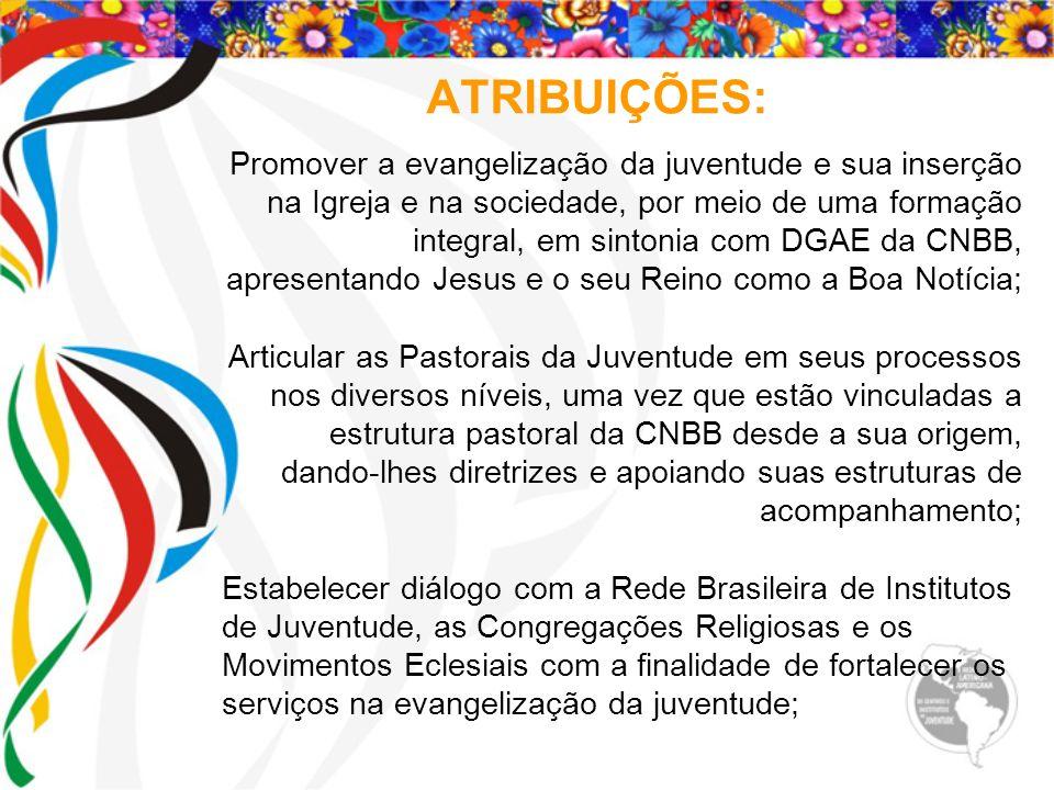 ATRIBUIÇÕES: Promover a evangelização da juventude e sua inserção na Igreja e na sociedade, por meio de uma formação integral, em sintonia com DGAE da