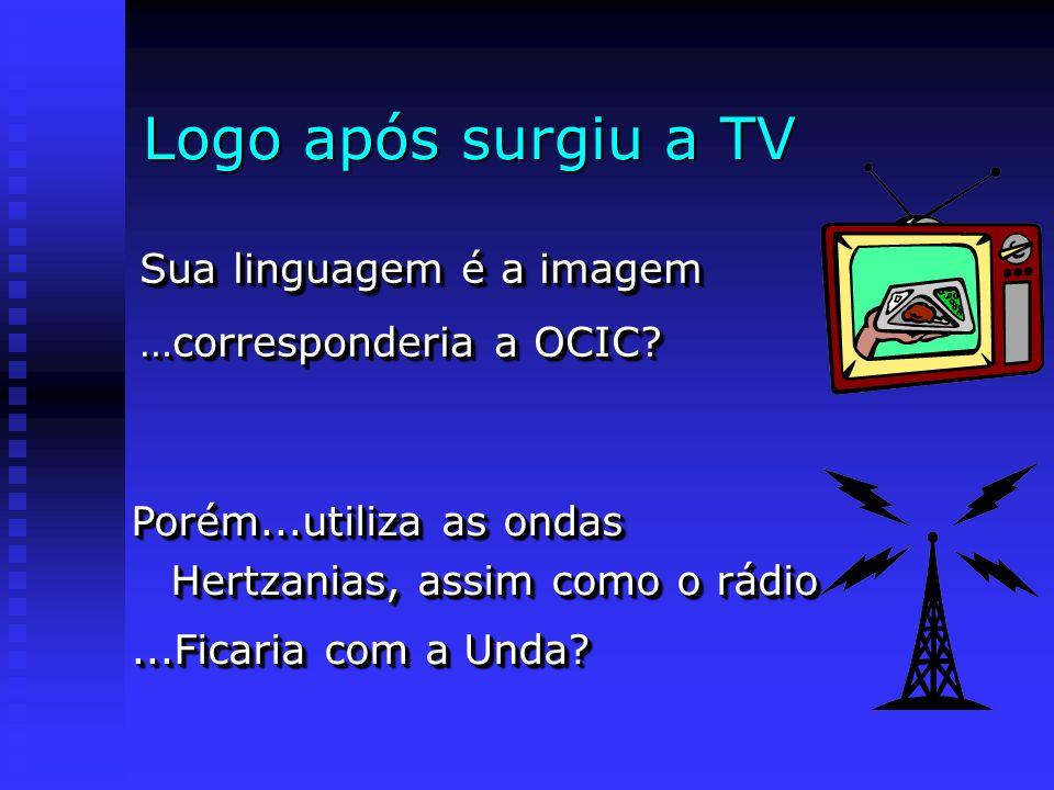 Logo após surgiu a TV Sua linguagem é a imagem …corresponderia a OCIC? Sua linguagem é a imagem …corresponderia a OCIC? Porém...utiliza as ondas Hertz