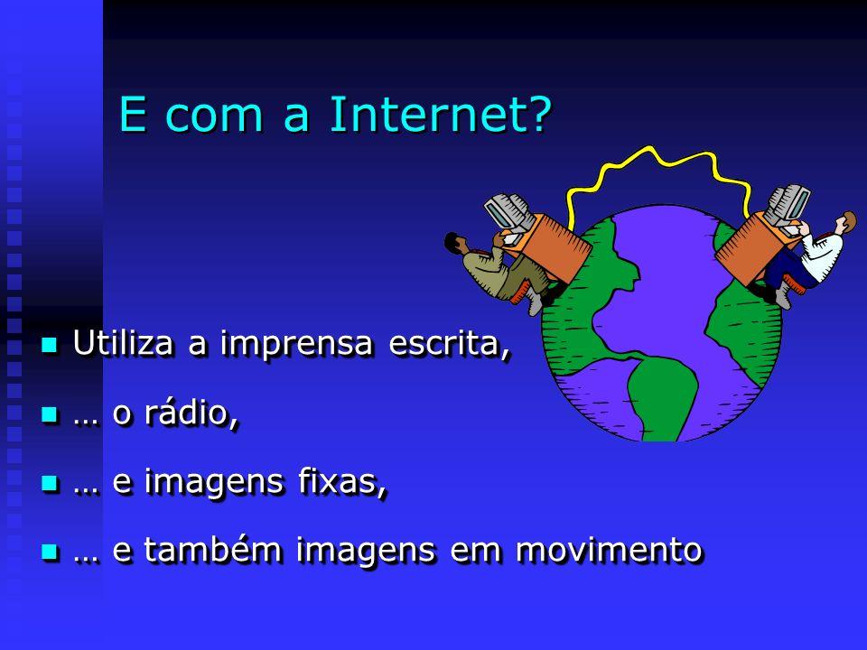 E com a Internet? Utiliza a imprensa escrita, Utiliza a imprensa escrita, … o rádio, … o rádio, … e imagens fixas, … e imagens fixas, … e também image
