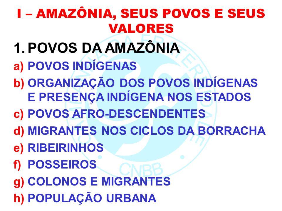 I – AMAZÔNIA, SEUS POVOS E SEUS VALORES 1.POVOS DA AMAZÔNIA a)POVOS INDÍGENAS b)ORGANIZAÇÃO DOS POVOS INDÍGENAS E PRESENÇA INDÍGENA NOS ESTADOS c)POVO
