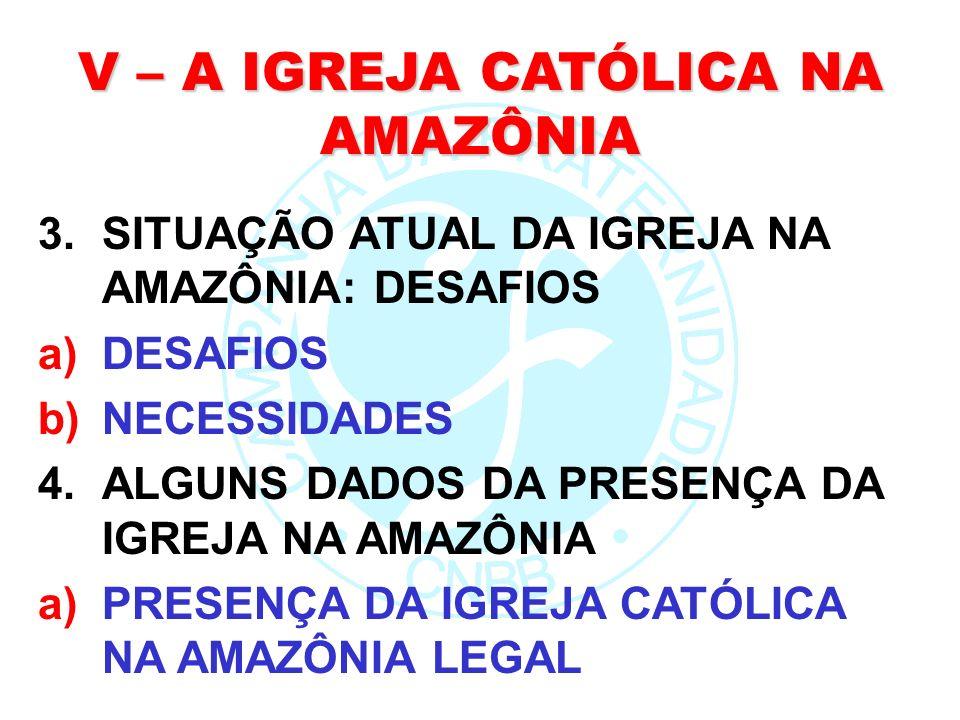 V – A IGREJA CATÓLICA NA AMAZÔNIA 3.SITUAÇÃO ATUAL DA IGREJA NA AMAZÔNIA: DESAFIOS a)DESAFIOS b)NECESSIDADES 4.ALGUNS DADOS DA PRESENÇA DA IGREJA NA A