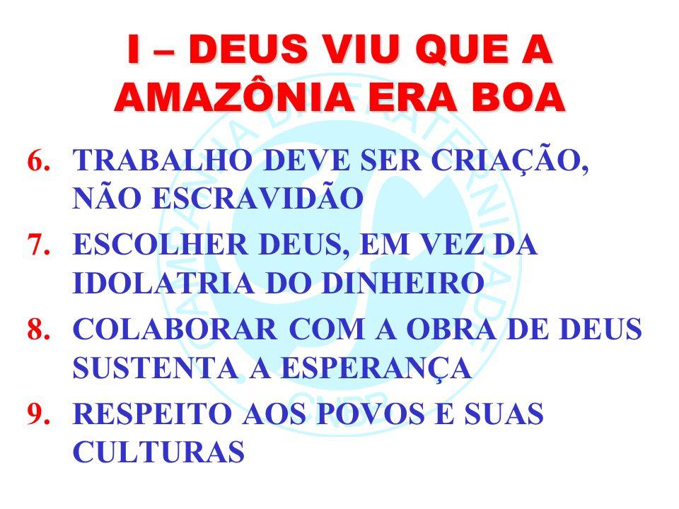 I – DEUS VIU QUE A AMAZÔNIA ERA BOA 6.TRABALHO DEVE SER CRIAÇÃO, NÃO ESCRAVIDÃO 7.ESCOLHER DEUS, EM VEZ DA IDOLATRIA DO DINHEIRO 8.COLABORAR COM A OBR