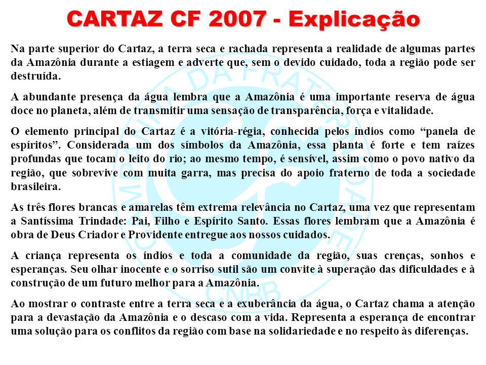 CARTAZ CF 2007 - Explicação Na parte superior do Cartaz, a terra seca e rachada representa a realidade de algumas partes da Amazônia durante a estiage