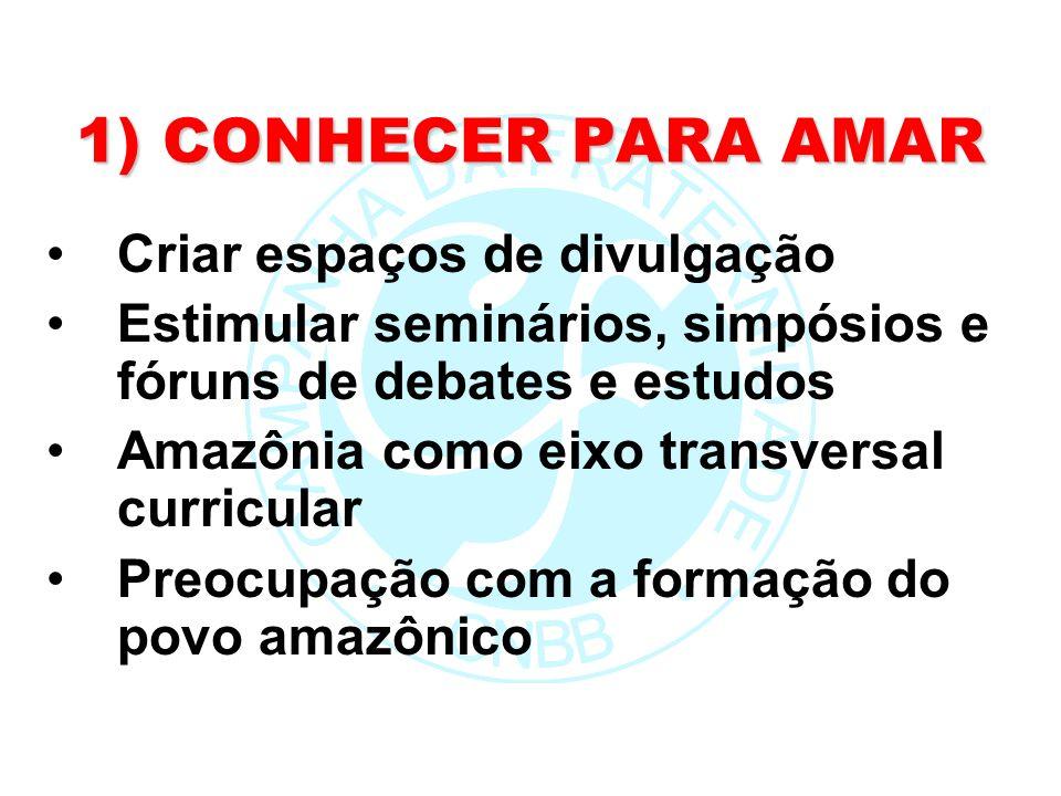 1) CONHECER PARA AMAR Criar espaços de divulgação Estimular seminários, simpósios e fóruns de debates e estudos Amazônia como eixo transversal curricu