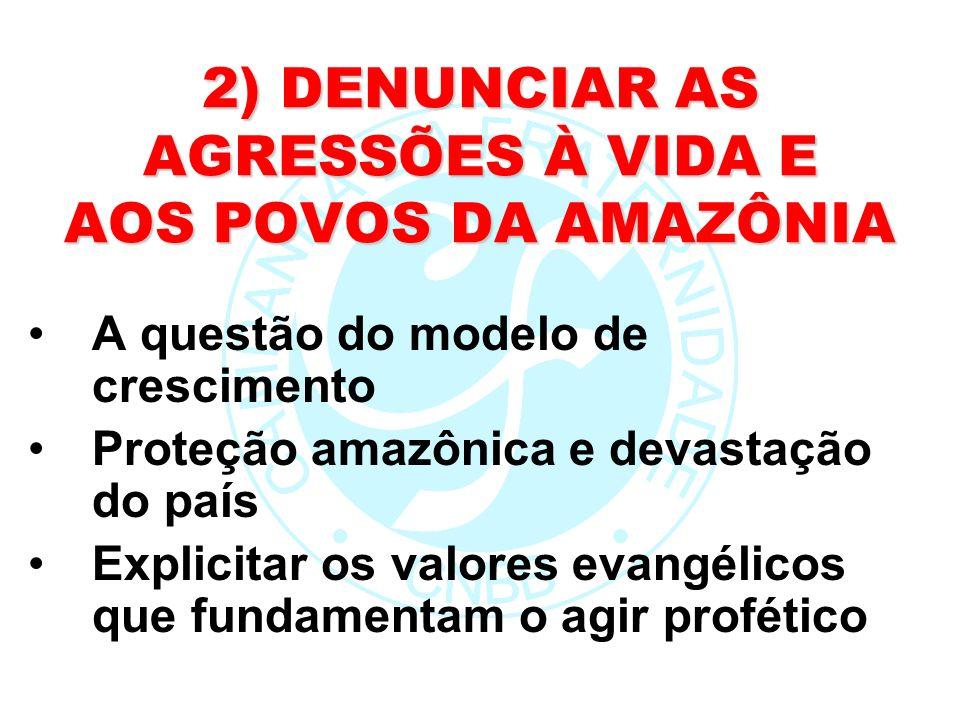 2) DENUNCIAR AS AGRESSÕES À VIDA E AOS POVOS DA AMAZÔNIA A questão do modelo de crescimento Proteção amazônica e devastação do país Explicitar os valo