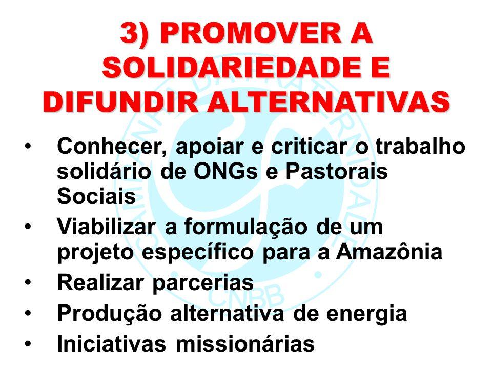 3) PROMOVER A SOLIDARIEDADE E DIFUNDIR ALTERNATIVAS Conhecer, apoiar e criticar o trabalho solidário de ONGs e Pastorais Sociais Viabilizar a formulaç