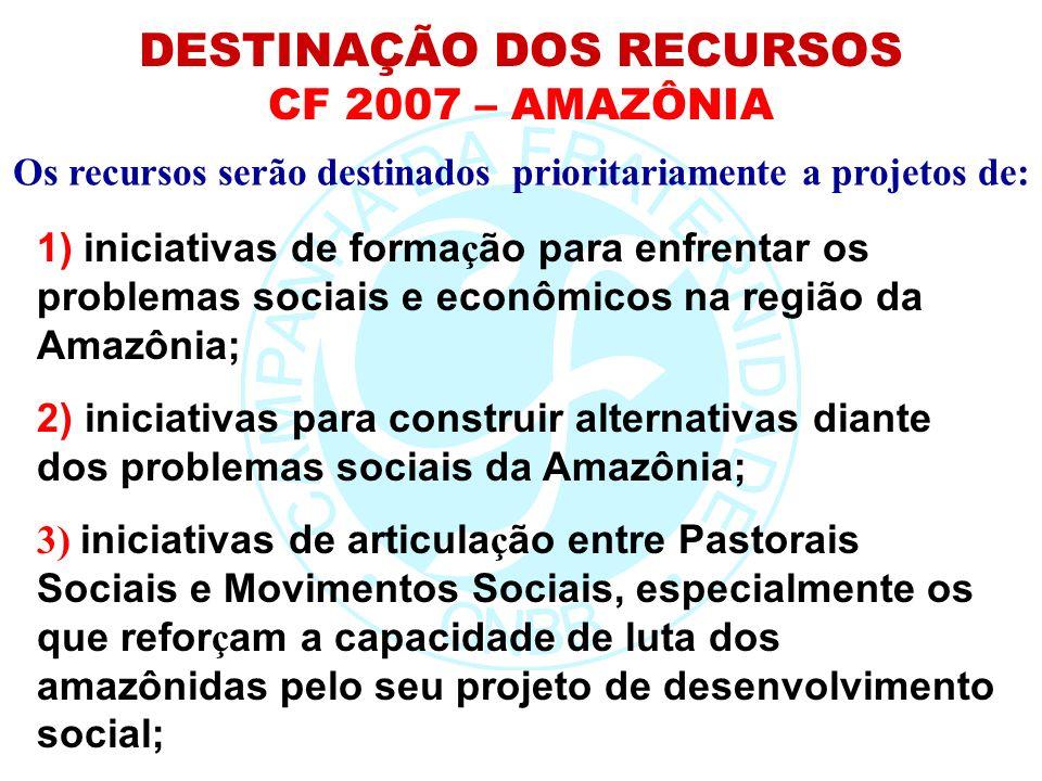 Os recursos serão destinados prioritariamente a projetos de: 1) iniciativas de forma ç ão para enfrentar os problemas sociais e econômicos na região d