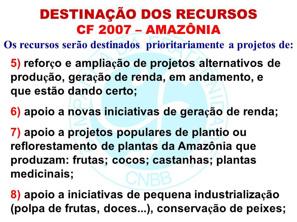 Os recursos serão destinados prioritariamente a projetos de: DESTINAÇÃO DOS RECURSOS CF 2007 – AMAZÔNIA 5) refor ç o e amplia ç ão de projetos alterna