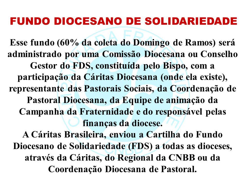 Esse fundo (60% da coleta do Domingo de Ramos) será administrado por uma Comissão Diocesana ou Conselho Gestor do FDS, constituída pelo Bispo, com a p