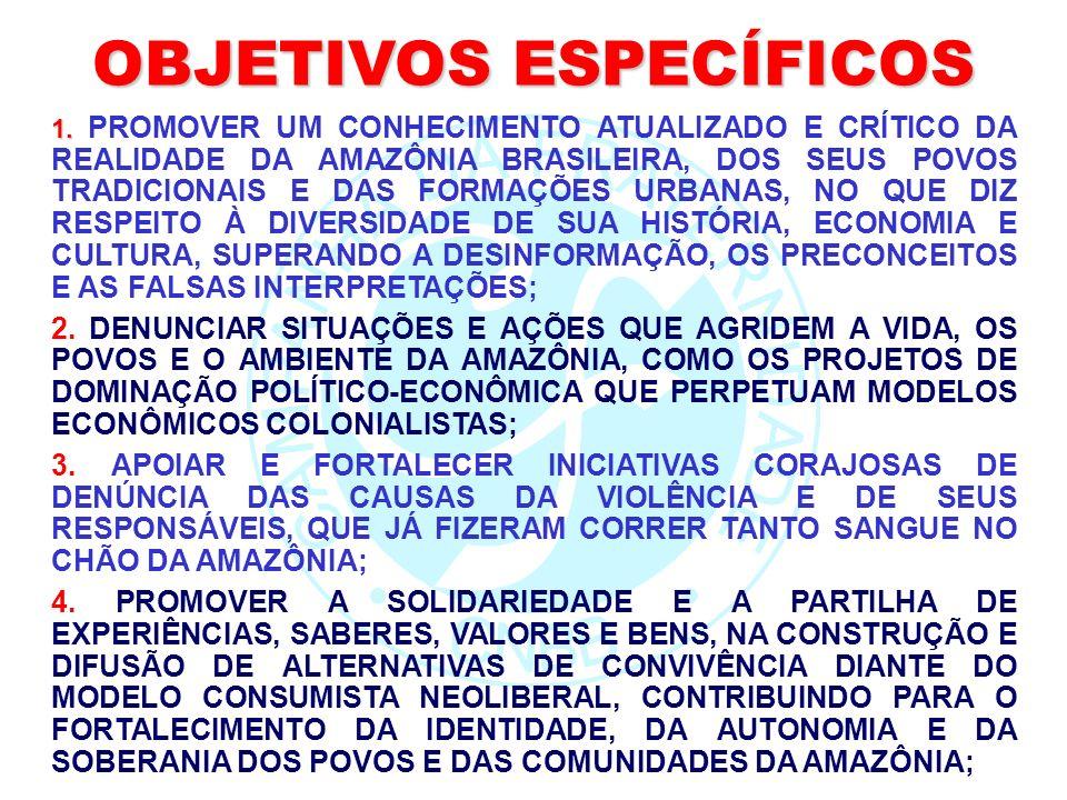 OBJETIVOS ESPECÍFICOS 1. 1. PROMOVER UM CONHECIMENTO ATUALIZADO E CRÍTICO DA REALIDADE DA AMAZÔNIA BRASILEIRA, DOS SEUS POVOS TRADICIONAIS E DAS FORMA