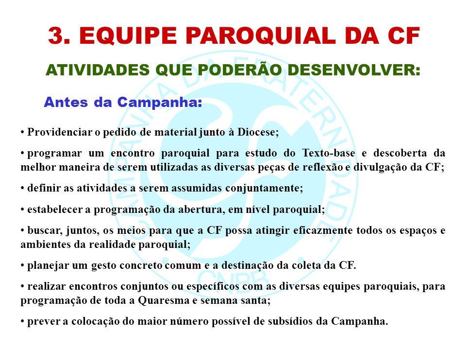 3. EQUIPE PAROQUIAL DA CF ATIVIDADES QUE PODERÃO DESENVOLVER: Providenciar o pedido de material junto à Diocese; programar um encontro paroquial para
