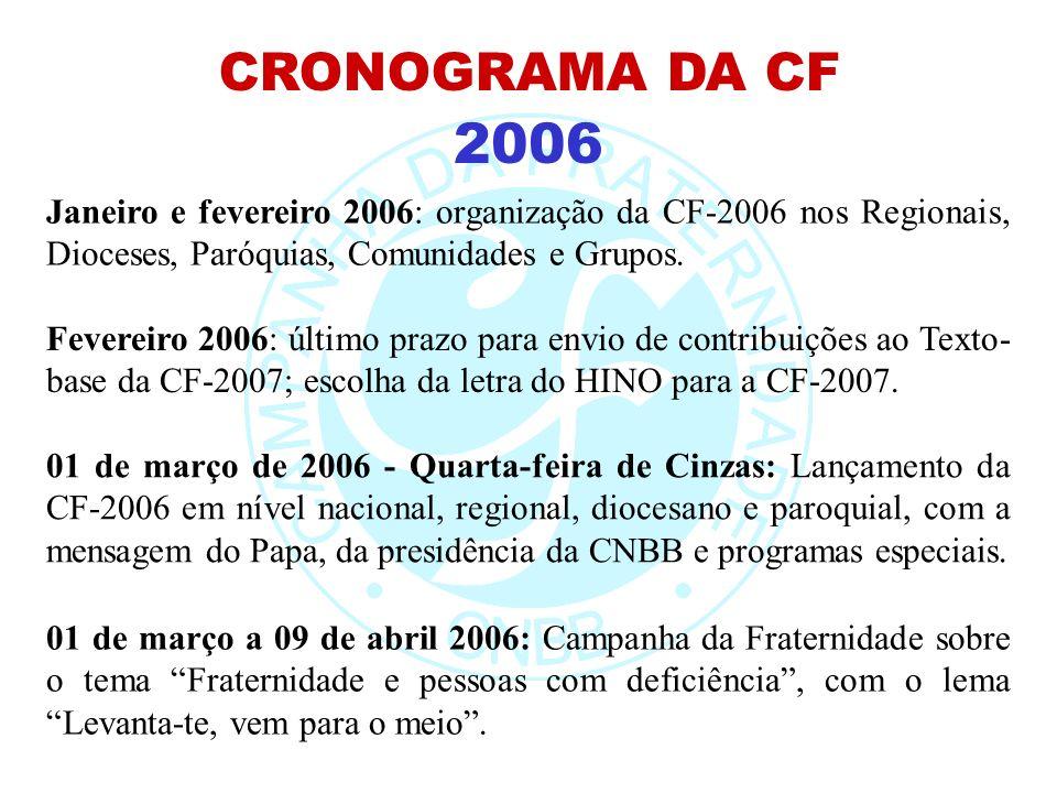2006 CRONOGRAMA DA CF Janeiro e fevereiro 2006: organização da CF-2006 nos Regionais, Dioceses, Paróquias, Comunidades e Grupos. Fevereiro 2006: últim