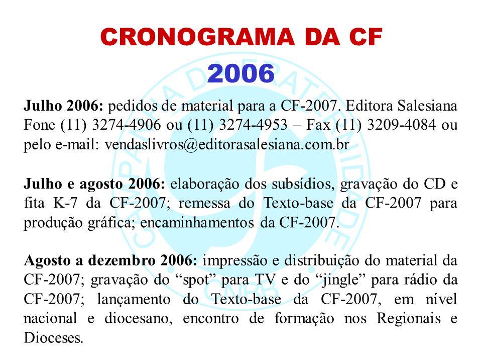 2006 CRONOGRAMA DA CF Julho e agosto 2006: elaboração dos subsídios, gravação do CD e fita K-7 da CF-2007; remessa do Texto-base da CF-2007 para produ