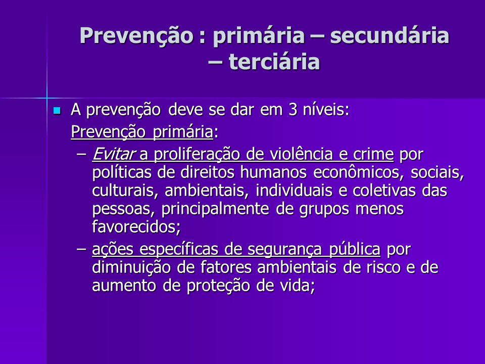 Prevenção : primária – secundária – terciária A prevenção deve se dar em 3 níveis: A prevenção deve se dar em 3 níveis: Prevenção primária: –Evitar a