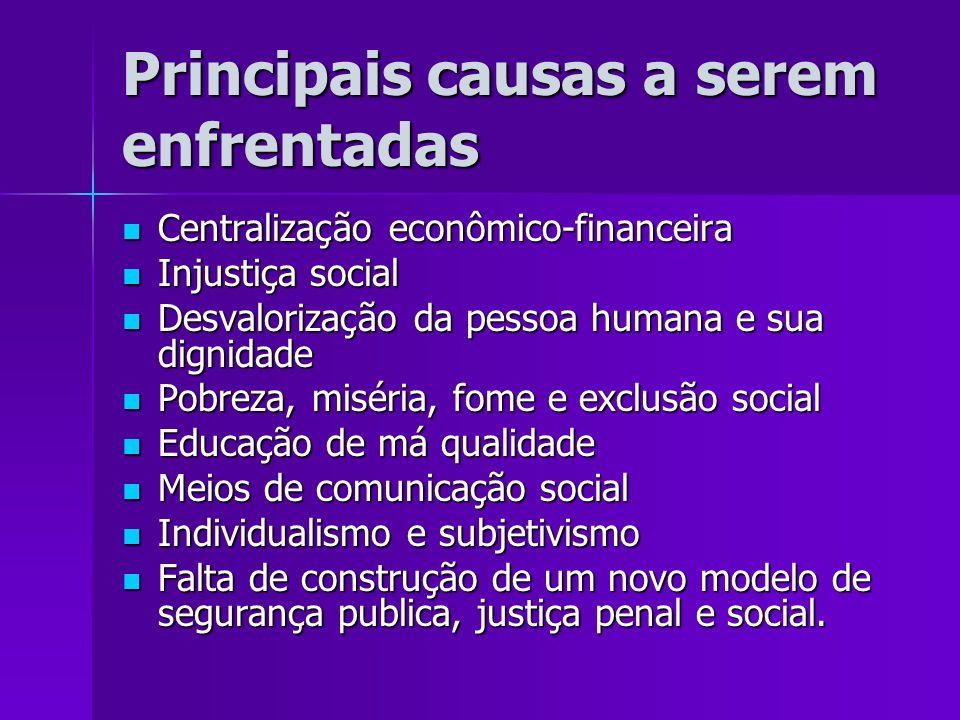 Principais causas a serem enfrentadas Centralização econômico-financeira Centralização econômico-financeira Injustiça social Injustiça social Desvalor