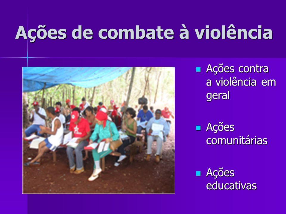 Ações de combate à violência Ações contra a violência em geral Ações contra a violência em geral Ações comunitárias Ações comunitárias Ações educativa