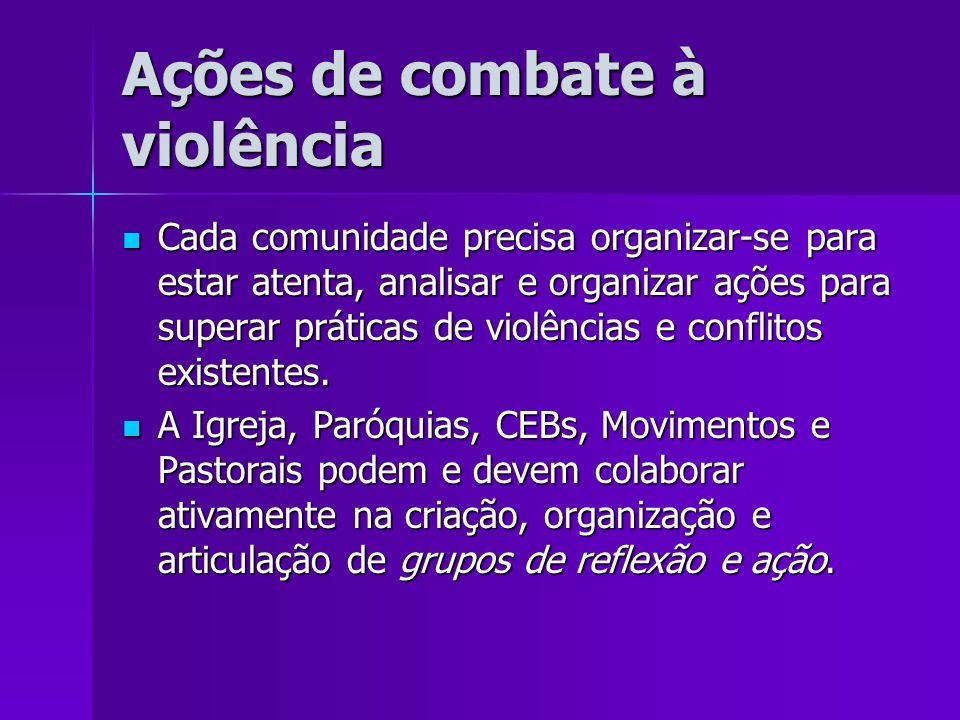 Ações de combate à violência Cada comunidade precisa organizar-se para estar atenta, analisar e organizar ações para superar práticas de violências e