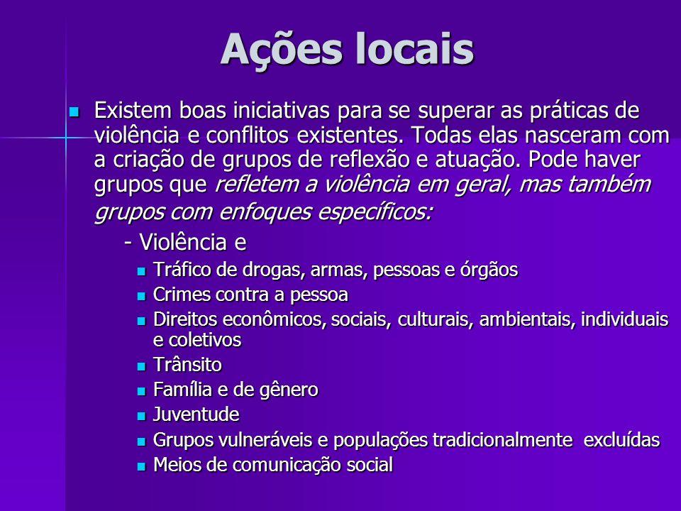 Ações locais Ações locais Existem boas iniciativas para se superar as práticas de violência e conflitos existentes. Todas elas nasceram com a criação