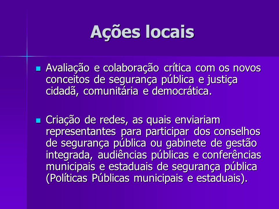 Ações locais Ações locais Avaliação e colaboração crítica com os novos conceitos de segurança pública e justiça cidadã, comunitária e democrática. Ava