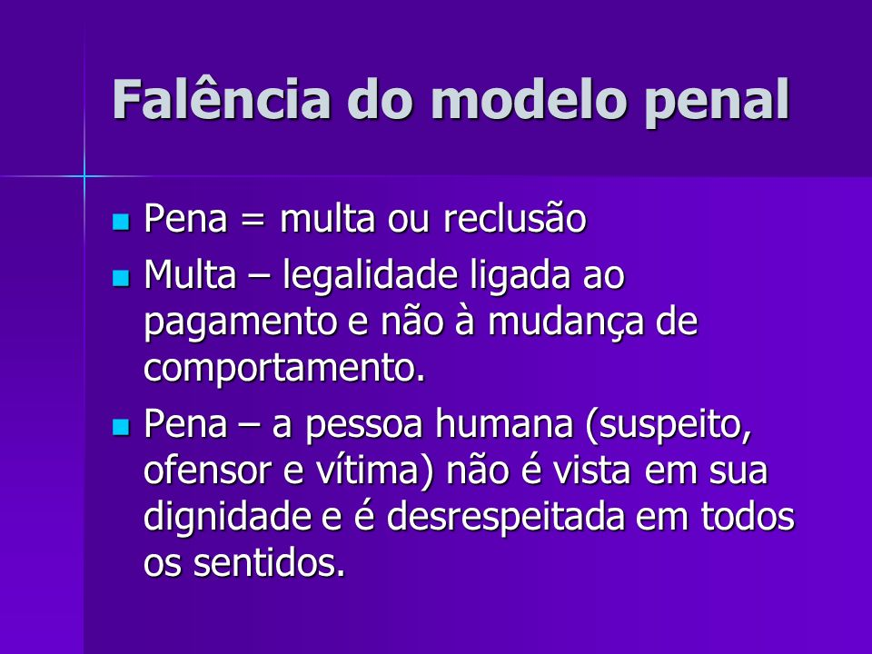 Falência do modelo penal Pena = multa ou reclusão Pena = multa ou reclusão Multa – legalidade ligada ao pagamento e não à mudança de comportamento. Mu