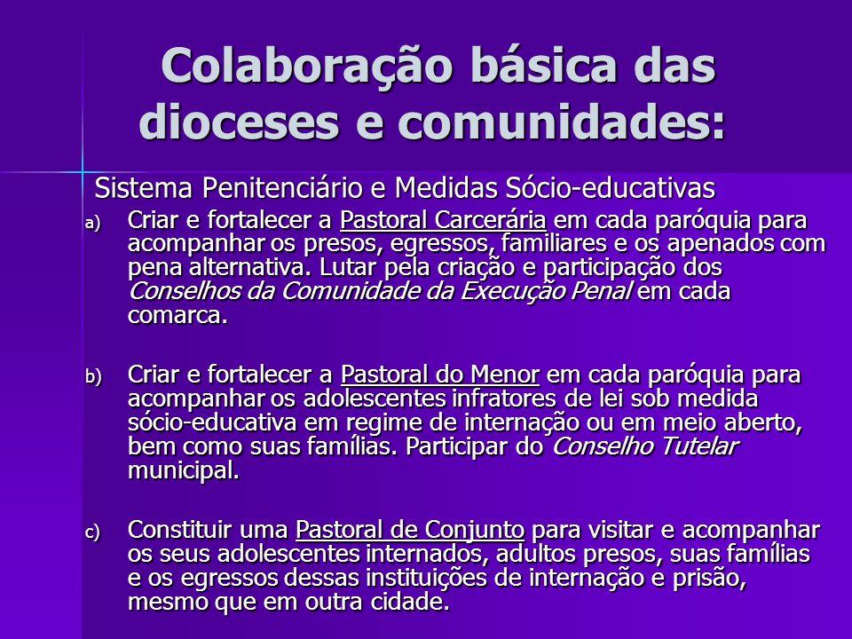 Colaboração básica das dioceses e comunidades: Colaboração básica das dioceses e comunidades: Sistema Penitenciário e Medidas Sócio-educativas Sistema