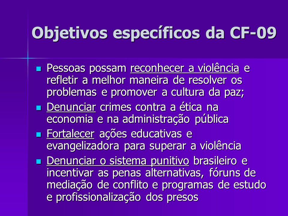 Objetivos específicos da CF-09 Objetivos específicos da CF-09 Pessoas possam reconhecer a violência e refletir a melhor maneira de resolver os problem