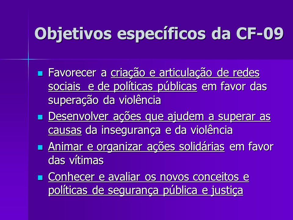 Objetivos específicos da CF-09 Objetivos específicos da CF-09 Favorecer a criação e articulação de redes sociais e de políticas públicas em favor das