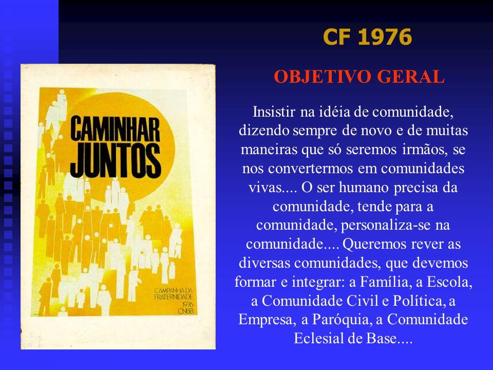 CF 1976 OBJETIVO GERAL Insistir na idéia de comunidade, dizendo sempre de novo e de muitas maneiras que só seremos irmãos, se nos convertermos em comu