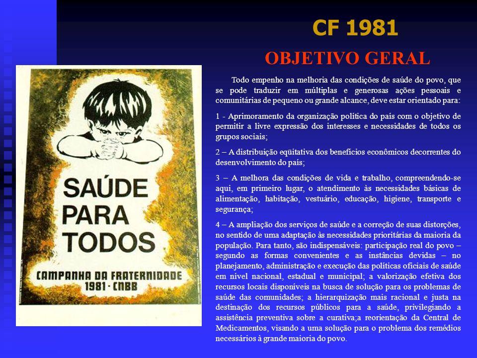 CF 1981 OBJETIVO GERAL Todo empenho na melhoria das condições de saúde do povo, que se pode traduzir em múltiplas e generosas ações pessoais e comunit