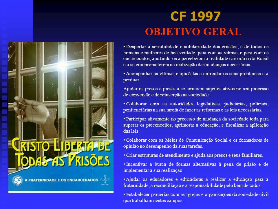CF 1997 OBJETIVO GERAL Despertar a sensibilidade e solidariedade dos cristãos, e de todos os homens e mulheres de boa vontade, para com as vítimas e p