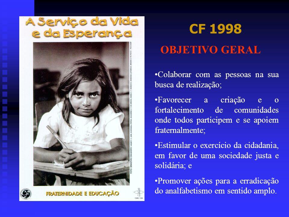 CF 1998 OBJETIVO GERAL Colaborar com as pessoas na sua busca de realização; Favorecer a criação e o fortalecimento de comunidades onde todos participe