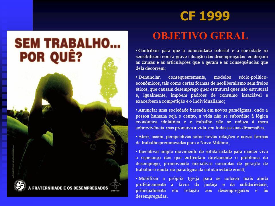 CF 1999 OBJETIVO GERAL Contribuir para que a comunidade eclesial e a sociedade se sensibilizem com a grave situação dos desempregados, conheçam as cau