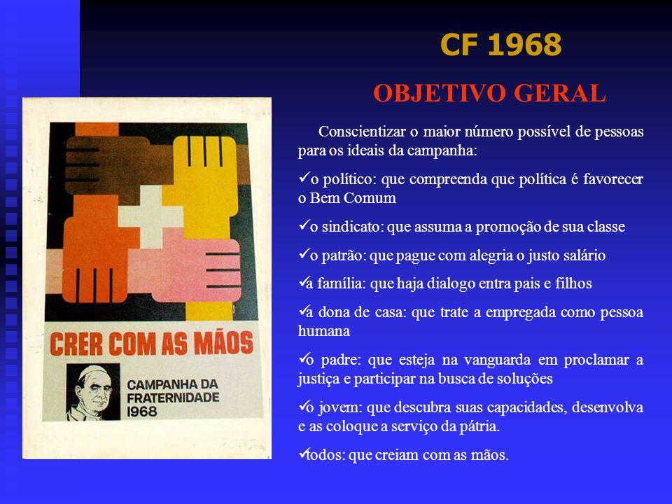 CF 1968 OBJETIVO GERAL Conscientizar o maior número possível de pessoas para os ideais da campanha: o político: que compreenda que política é favorece