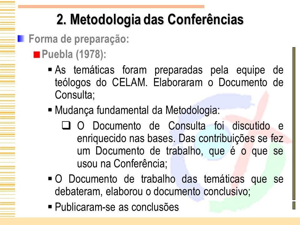 2. Metodologia das Conferências Forma de preparação: Puebla (1978): As temáticas foram preparadas pela equipe de teólogos do CELAM. Elaboraram o Docum