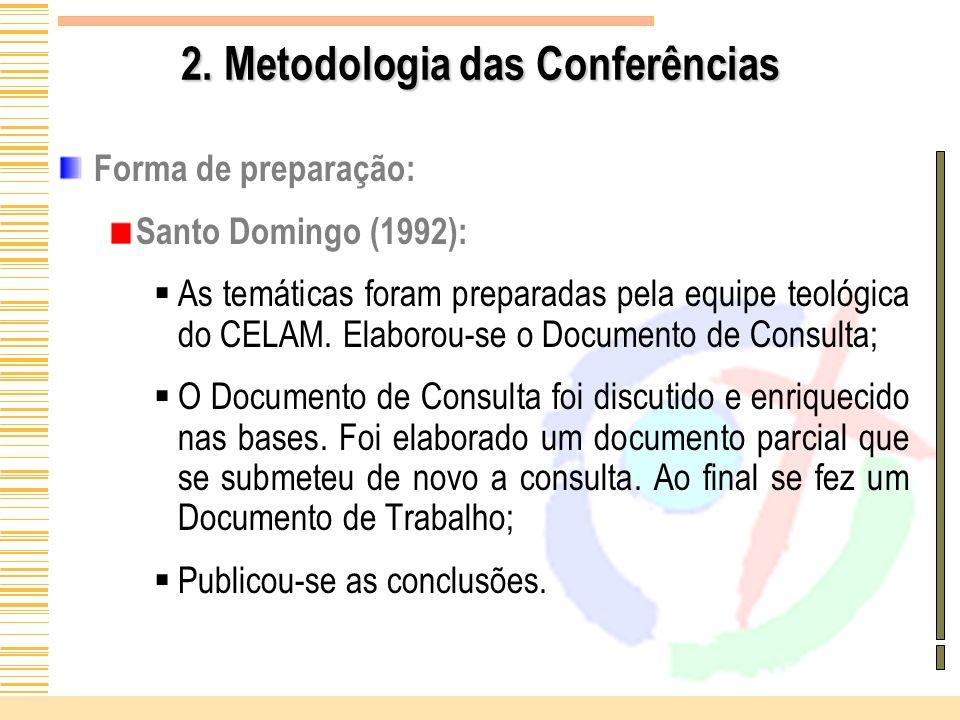 2. Metodologia das Conferências Forma de preparação: Santo Domingo (1992): As temáticas foram preparadas pela equipe teológica do CELAM. Elaborou-se o