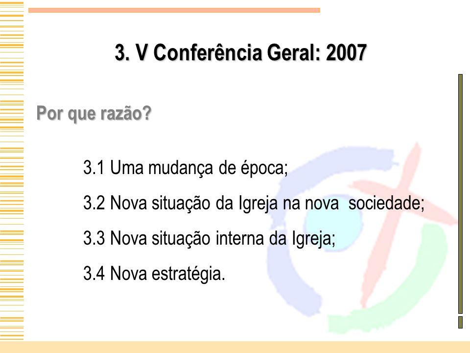 3. V Conferência Geral: 2007 Por que razão? 3.1 Uma mudança de época; 3.2 Nova situação da Igreja na nova sociedade; 3.3 Nova situação interna da Igre