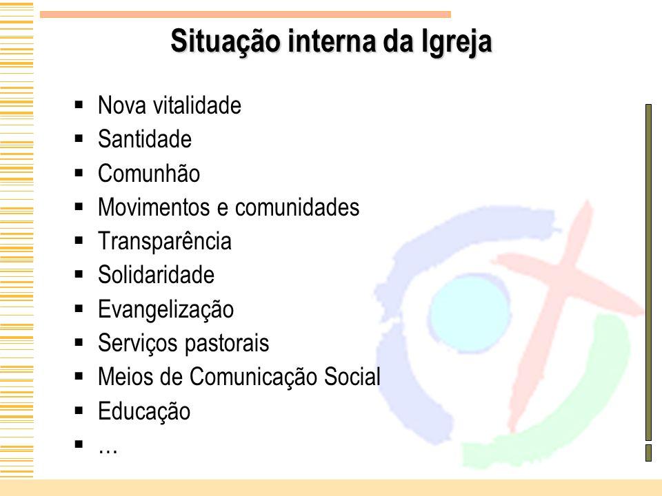 Situação interna da Igreja Nova vitalidade Santidade Comunhão Movimentos e comunidades Transparência Solidaridade Evangelização Serviços pastorais Mei