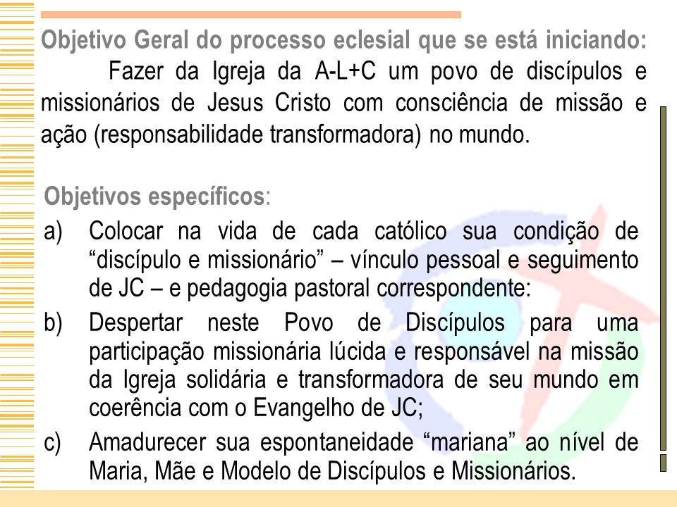 Objetivo Geral do processo eclesial que se está iniciando: Fazer da Igreja da A-L+C um povo de discípulos e missionários de Jesus Cristo com consciênc