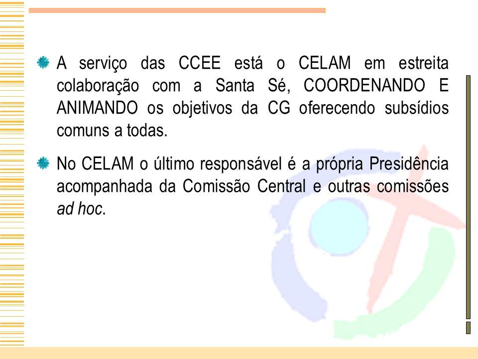 A serviço das CCEE está o CELAM em estreita colaboração com a Santa Sé, COORDENANDO E ANIMANDO os objetivos da CG oferecendo subsídios comuns a todas.