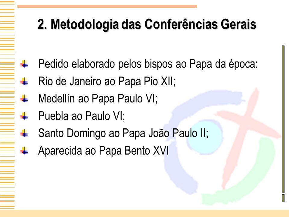 2. Metodologia das Conferências Gerais Pedido elaborado pelos bispos ao Papa da época: Rio de Janeiro ao Papa Pio XII; Medellín ao Papa Paulo VI; Pueb