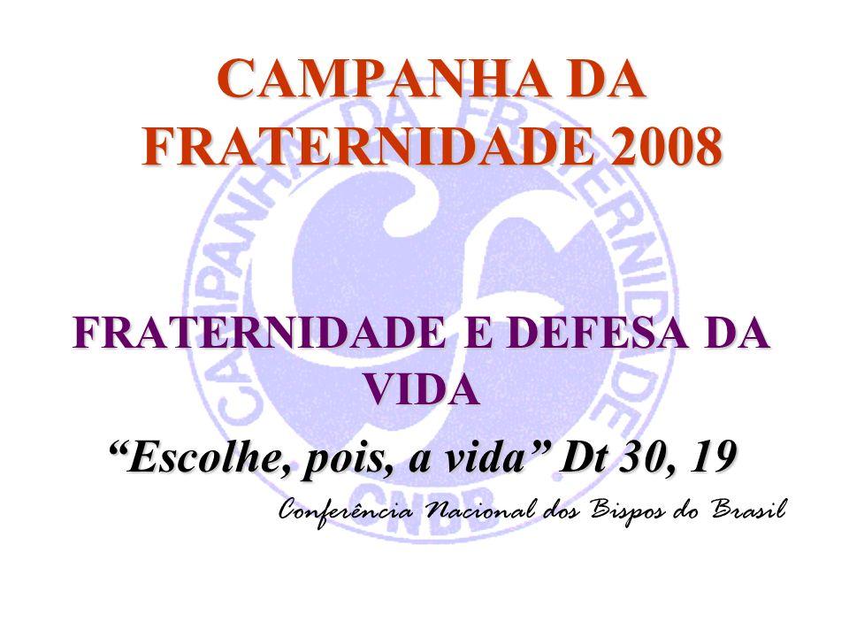 CAMPANHA DA FRATERNIDADE 2008 FRATERNIDADE E DEFESA DA VIDA Escolhe, pois, a vida Dt 30, 19 Conferência Nacional dos Bispos do Brasil