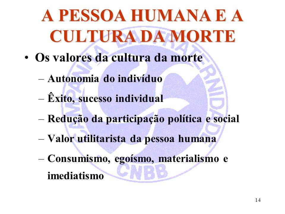 14 A PESSOA HUMANA E A CULTURA DA MORTE Os valores da cultura da morte –Autonomia do indivíduo –Êxito, sucesso individual –Redução da participação pol