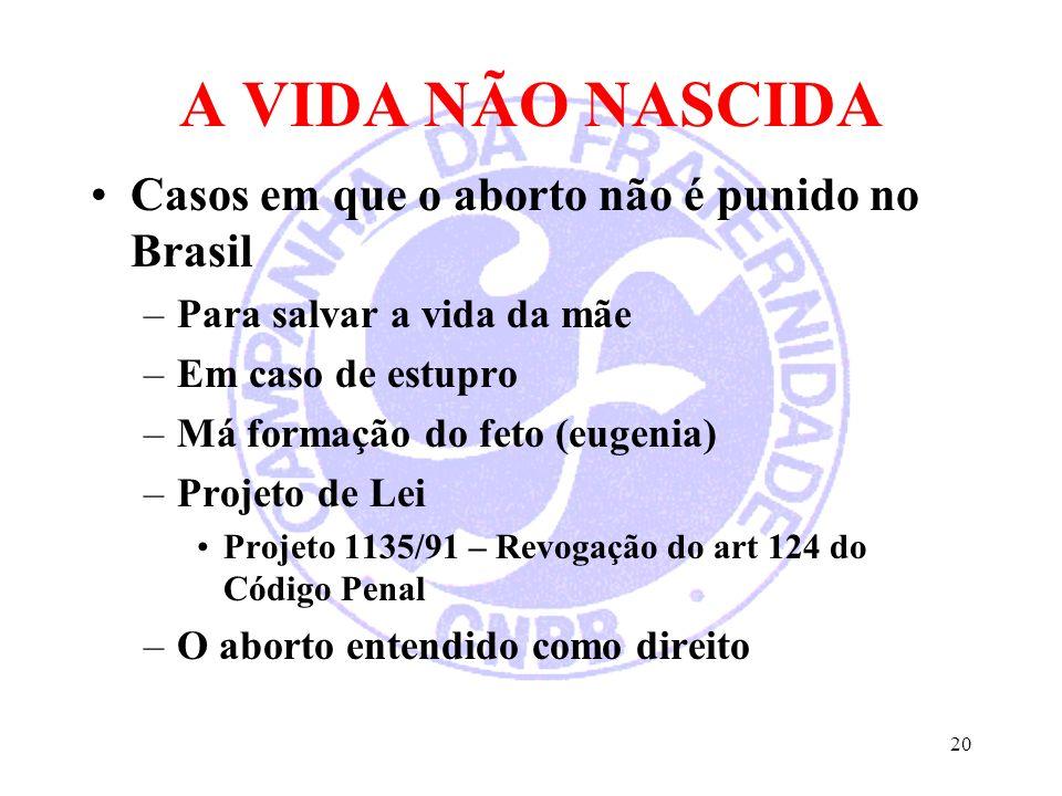 20 A VIDA NÃO NASCIDA Casos em que o aborto não é punido no Brasil –Para salvar a vida da mãe –Em caso de estupro –Má formação do feto (eugenia) –Proj